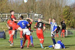 Action from Hassocks v Haywards Heath Town. Picture by Grahame Lehkyj