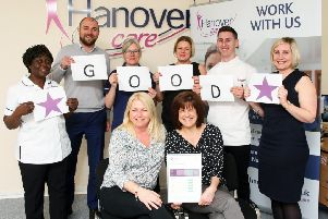 Hanover Care staff celebrating the 'good' CQC rating. Photo: Derek Martin DM1842180a.jpg