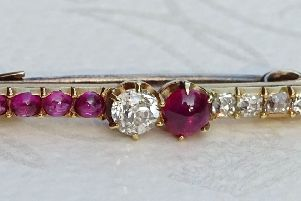 Part of the 19th century ruby and diamond brooch