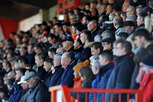 Crawley Town FC v MK Dons. A minute silence before the game. Pic Steve Robards SR1829141 SUS-180311-155339001
