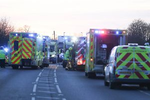 The scene of the accident on the A280 in Angmering, which has been shut for hours