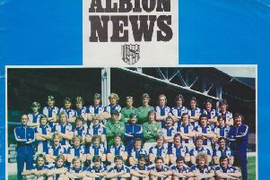 The front cover of the programme when West Brom met Brighton in 1976