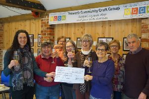 Kate, Tricia and Tony with members of the craft group at the presentation