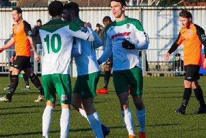 Bognor players celebrate after Brad Lethbridge's equaliser / Picture by Tommy McMillan