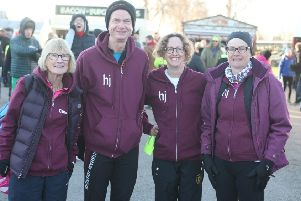 DM1920349a.jpg. Chichester Priory 10 K 2019. Horsham Joggers from left, Caroline  Bransden, Alan Pettitt, Rachel Hamson and Margaret Wadman. by Derek Martin SUS-190302-125856008