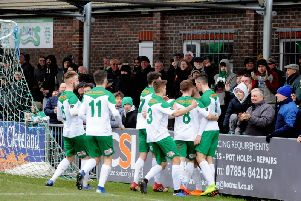 Bognor celebrate after Richard Gilot scores their second against Hornchurch / Picture by Kate Shemilt