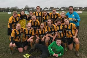 AFC Littlehampton Ladies celebrate reaching the League Cup quarter-final