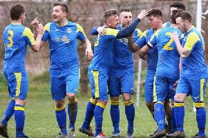 Rustington celebrate a goal in the win over Angmering Seniors. Picture: Derek Martin