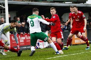 Action from Worthing's clash at Bognor. Picture: Tommy McMillan