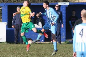 Action from Worthing United's clash against Hailsham Town. Picture: Derek Martin