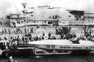 Copy of photo taken at Hastings carnival 1970. The photo shows Hastings Pier in the background.''Photo copy was taken through glass, so not fantastic quality. ENGSNL00120101214075635
