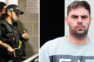 Armed police were called to the flat after the attack by Liam Hanley (right)