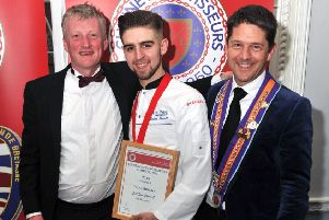 Jordon Powell, Chaine des Rotisseurs Chef of the Year 2019, with South Lodge's head chef Lewis Hamblet and general manager David Conell. Picture: Keith Meadley Photography SUS-190327-100834001