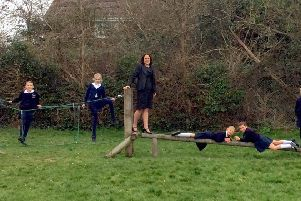 New head teacher at St Mary's C of E Primary School, Mrs Sam Copus, with pupils on the school's trim trail SUS-191004-102416001