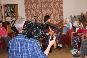 The BBC One camera crew for Songs of Praise at the Guild Care's Bradbury Wellbeing Centre