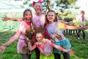 The Power! Puff! team after the colour run on the Tough Runner course