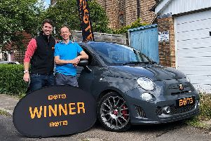 Christian Williams and Paul Thorpe with the dream car