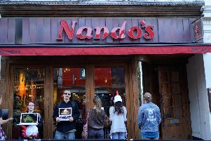 Animal rights demo at Brighton Nando's