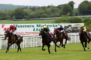 Action from the Cocked Hat Stakes - Frankie Dettori on the winner Private Secretary is in the yellow cap and green silks / Picture by Sam Stephenson for Goodwood Racecourse