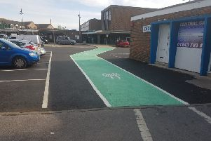 Reinstated cycle path at Chichester Railway Station