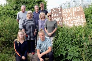 Some of the residents campaigning against the planning application. Picture by Kate Shemilt.