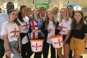 Dancers from Suzanne Logan School of Dance with parents at Morrisons Worthing. Picture: Mike Elborough