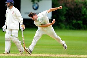 Matt Blandford bowls against Horsham on Saturday