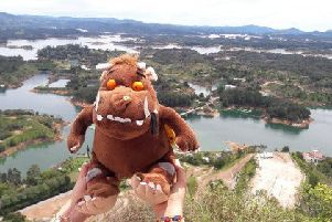 The Gruffalo enjoying a view of El Penol, Guatape Town