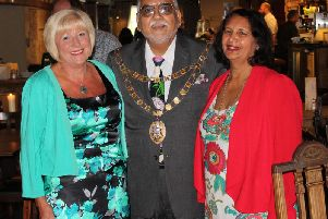 Sue Quinn and the mayor of Crawley, Cllr Raj Sharma and the Lady Mayoress, Bhavna Sharma