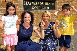 Sarah Munday with her children Emily and Tom, and Liz Evans. Photo by Steve Robards