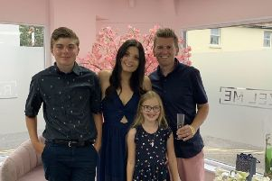 Hannah with her husband Jon, son Jake, and daughter Lola