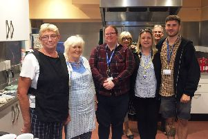 Mayor Tracey Baker with volunteers and staff at Littlehampton Community Hub, where she found out all about the breakfast club for the homeless
