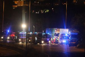 Emergency services at the scene of the collision on the A23 at Hickstead