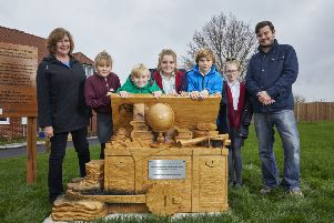 Children from St James' Primary School who helped design wooden sculpture for the Shackleton Close development in Coldwaltham SUS-190110-103531001