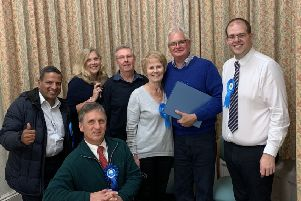 Howard Mundin, Conservative, (in the blue jumper) has won a Haywards Heath Town Council by-election for the Franklands ward