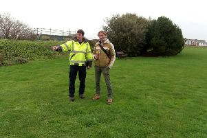 Liam Lord, arboricultural inspector at Adur District Council, discusses planting options with Chris Platt from More Trees at Adur Recreation Ground