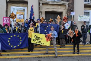 Anti-Brexit demonstration outside Worthing Town Hall