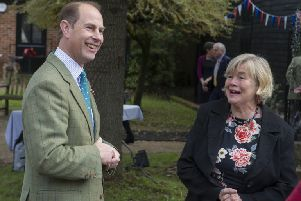 Prince Edward with Margaret Darvill of the Wey and Arun Canal Trust SUS-191118-145554001