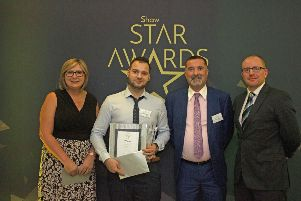 Sharon Williams of Minibus Options which was among award sponsors; Florin Mihalache from Hillside Lodge, Pulborough; Simon Kezic-Williams,Shaw healthcare regional operations director, and Fred James from Minibus Options SUS-191118-155058001