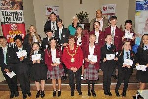 Worthing mayor Hazel Thorpe with the young debaters, judges Bob Smytherman and Toby Wilson, and Rotarian Kim Woodley