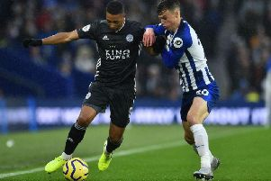 Brighton and Hove Albion midfielder Solly March gets to grips with Leicester City's Belgian midfielder Youri Tielemans