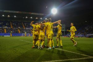 Chi City's players celebrate Ryan Peake's consolation goal at Tranmere - the moment that proved the perfect ending to their FA Cup run / Picture: Jordan Colborne