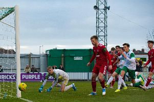 A near-miss for Bognor against Worthing - and that was about as close as they got to scoring / Picture: Tommy McMillan