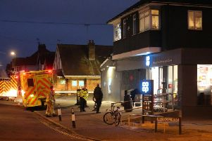 Firefighters and paramedics were pictured at the scene