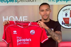 Josh Dacres-Cogley has had his game time limited by injury after signing on loan from Birmingham City. Photo: Crawley Town