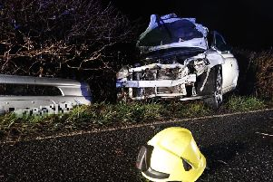 One of the vehicles involved in the crash on the A264. Photo by Billingshurst Fire Station
