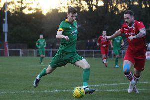 Horsham's Greg Cundle in action against Hornchurch on Saturday. Picture by John Lines