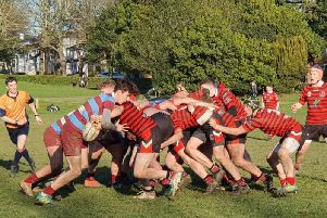 A scrum battle during Haywards Heath Colts' cup meeting with Hove