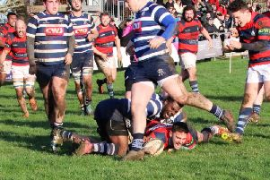 Rhys Thompson scores a Chi try at Westcombe Park / Picture: Alison Tanner