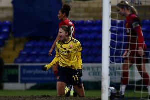 Vivianne Miedema of Arsenal celebrates scoring her sides third goal during the Barclays FA Women's Super League match between Liverpool and Arsenal at Deva Stadium  (Photo by Lewis Storey/Getty Images)